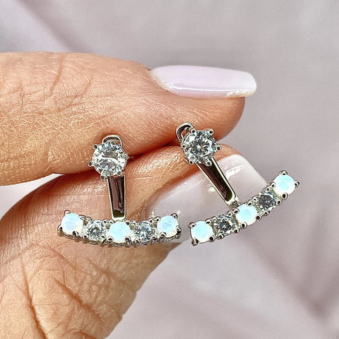 Dainty white opal sterling silver earring jacket