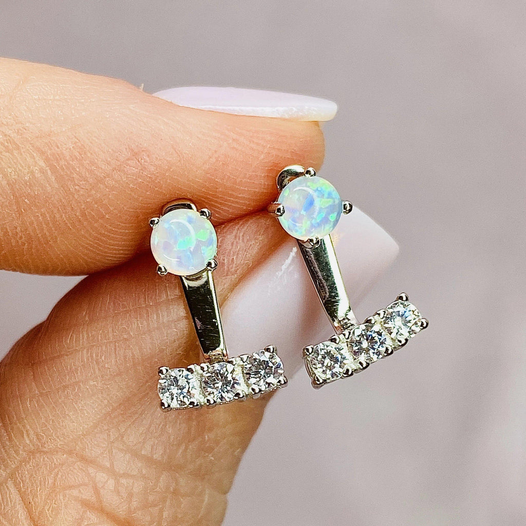 Bitty Earring Jackets in Opal + Cubic Zirconia EARRING JACKET Chloe + Lois