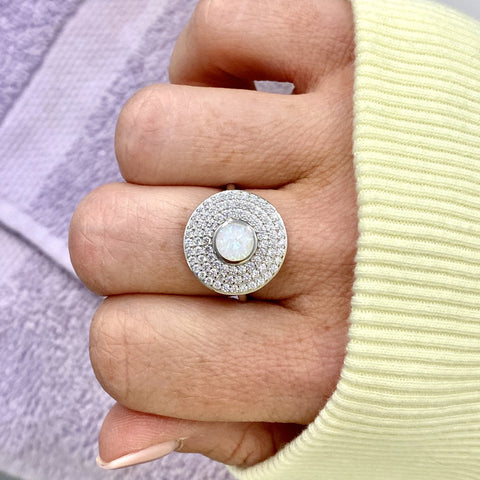 "White Opal and Cubic Zirconia ""MOD"" Statement Ring"