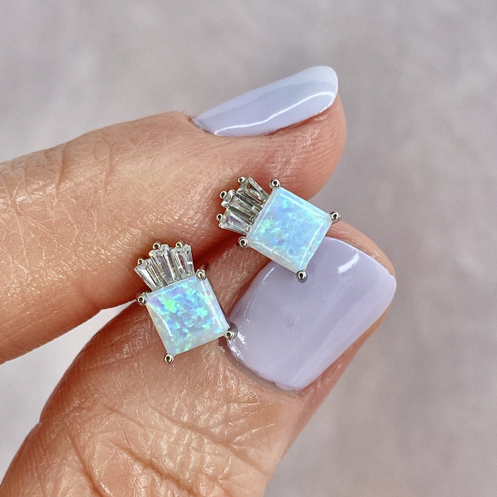 White Opal Palm Studs Earrings Chloe + Lois