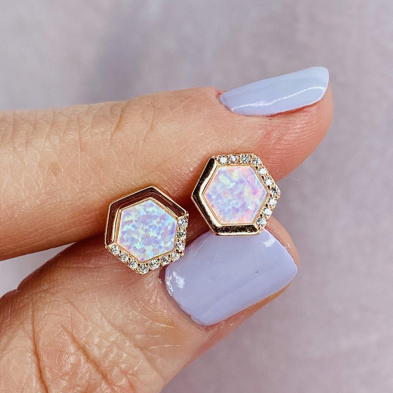 Rose Gold White Opal Stardust Studs Earrings Chloe + Lois