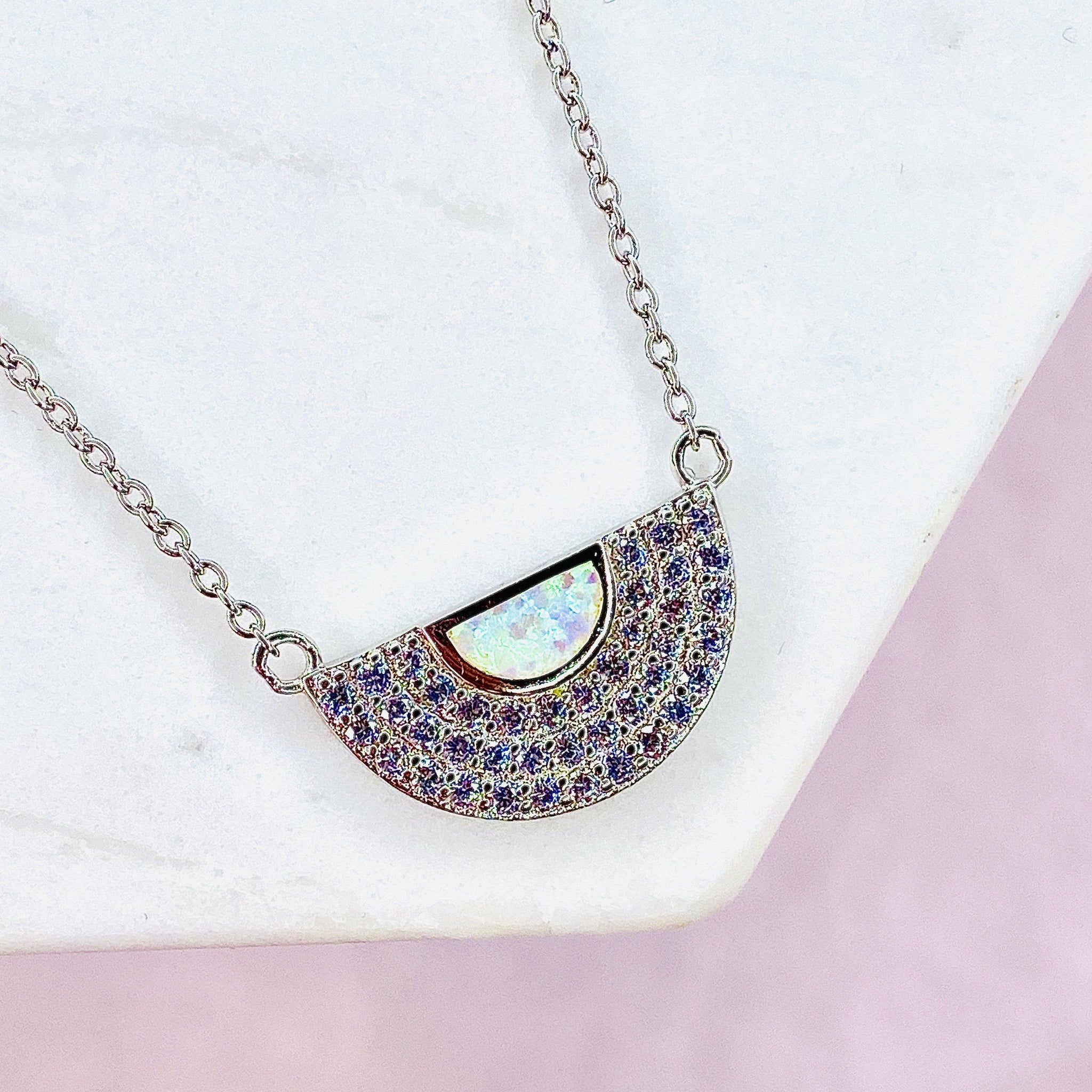 "White Opal and Cubic Zirconia ""MOD"" Necklace"