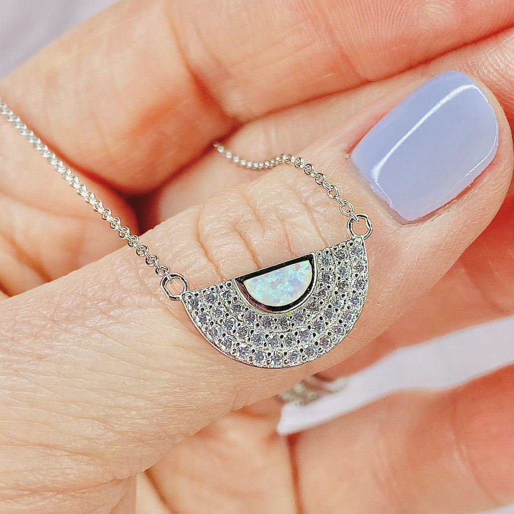 "White Opal and Cubic Zirconia ""MOD"" Necklace Necklaces Chloe + Lois"