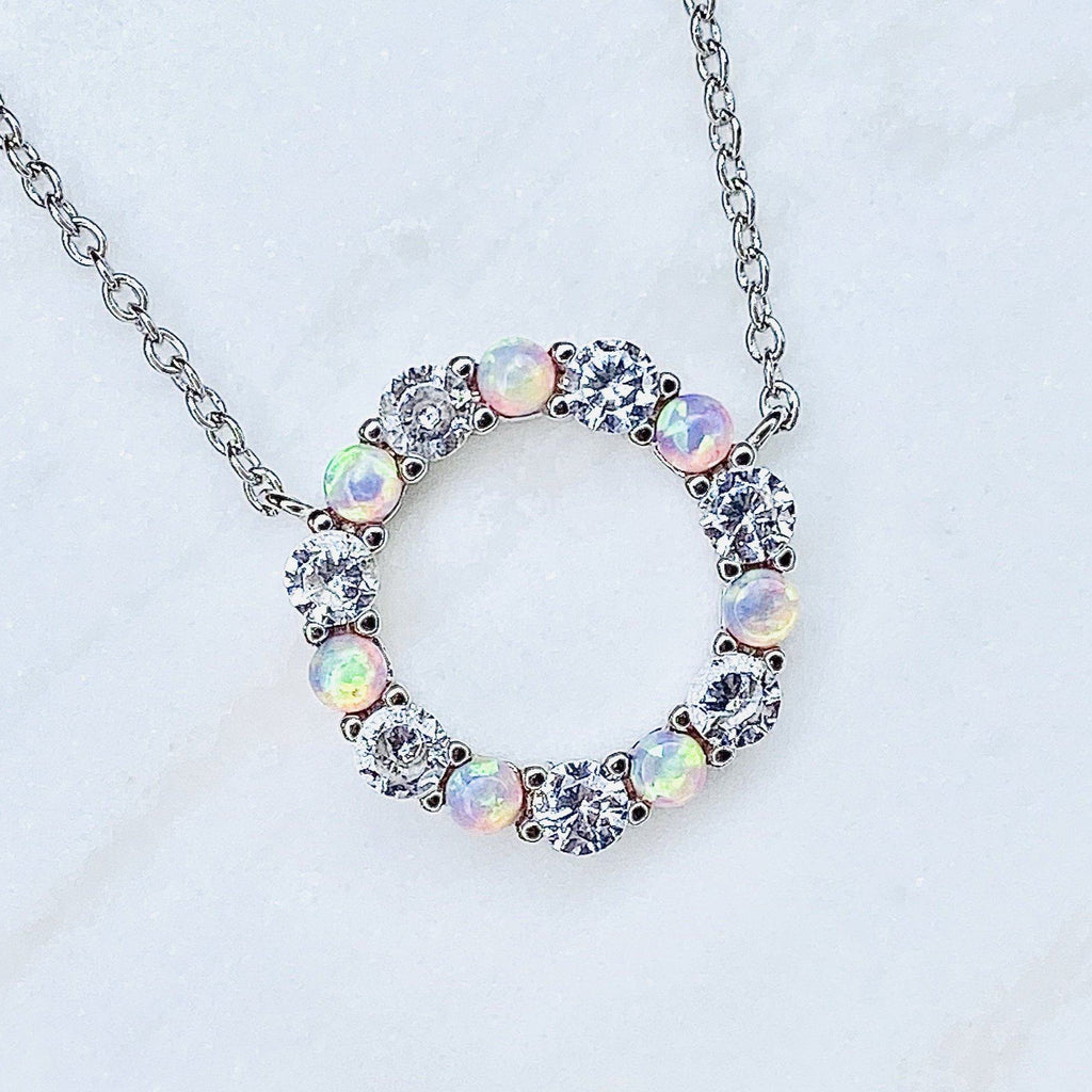 """Infinity"" Necklace in Pink/Green Opal + Cubic Zirconia Necklaces Chloe + Lois"