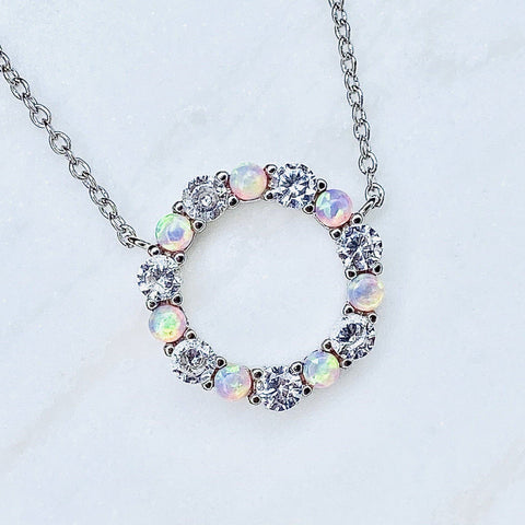 Dainty White Opal and Cubic Zirconia Infinity Necklace by Chloe + Lois