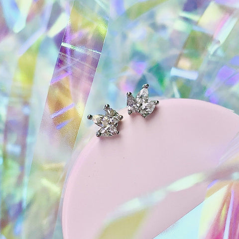 Mini Crown Studs in White Cubic Zirconia
