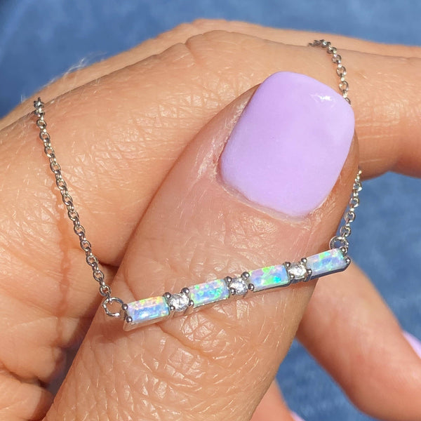 Sterling Silver Dainty Blue Opal and White CZ Layering Necklace by Chloe + Lois