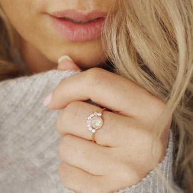 Dainty Delicate Opal Ring Rose Gold