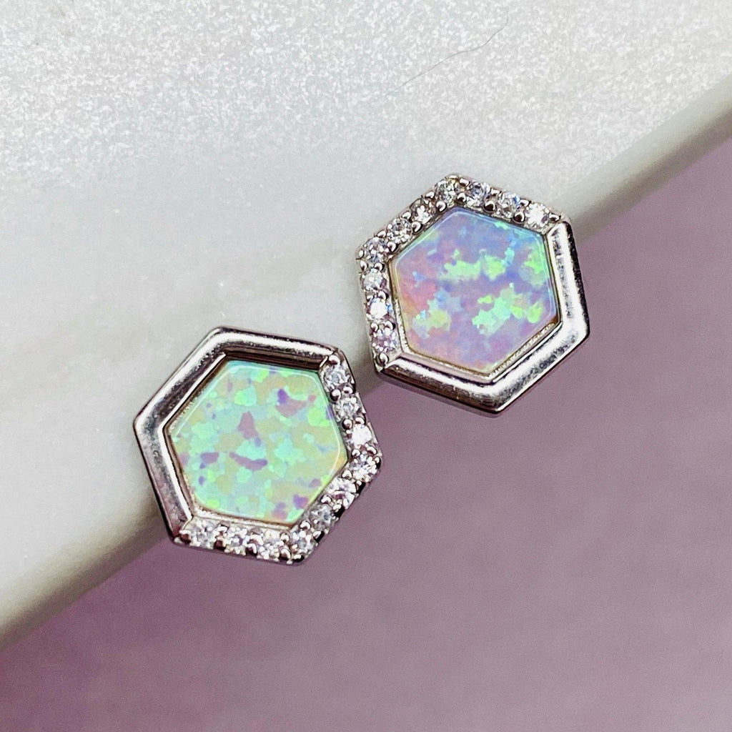 Sterling Silver White Opal Stardust Studs Earrings Chloe + Lois