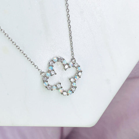 """Infinity"" Clover Necklace in White Opal + Cubic Zirconia"