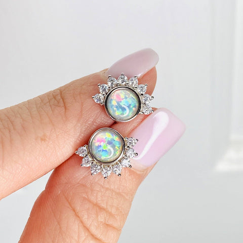 """Lois"" Studs in White Opal"