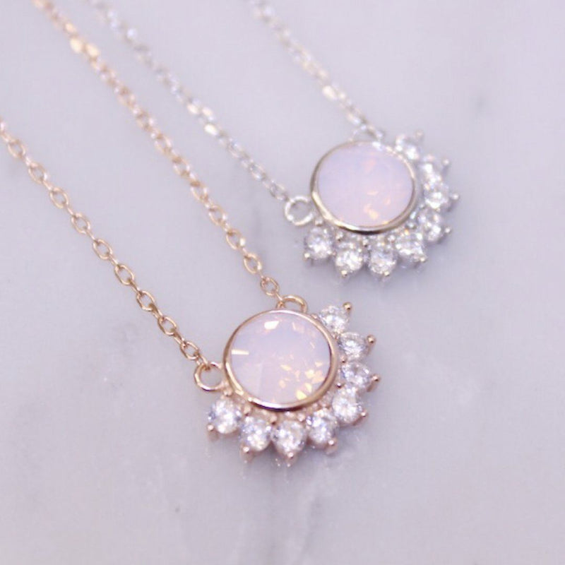 Pink Swarovski and Cubic Zirconia Lois Pendant Necklace