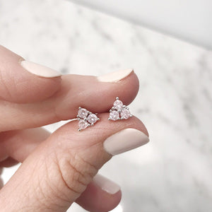 Pink Cubic Zirconia Triangle Stud Earrings