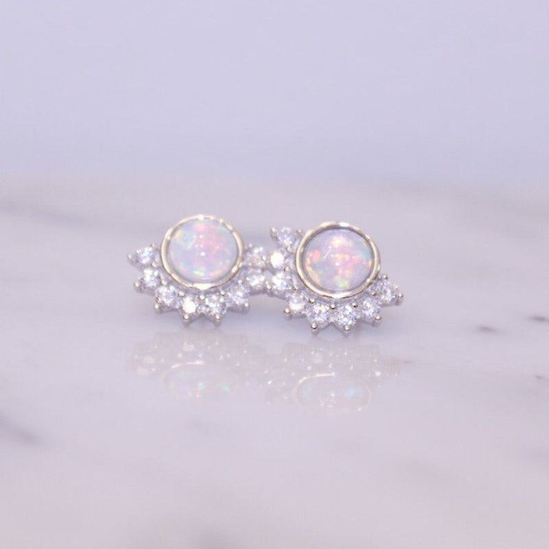 Sterling Silver Opal Lois Stud Earrings