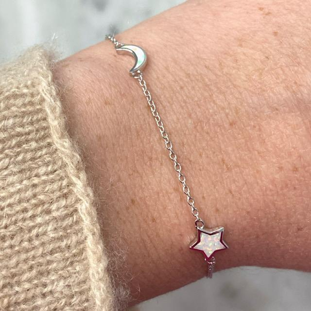 """Starry Night"" Moon + Star Bracelet in White Opal"