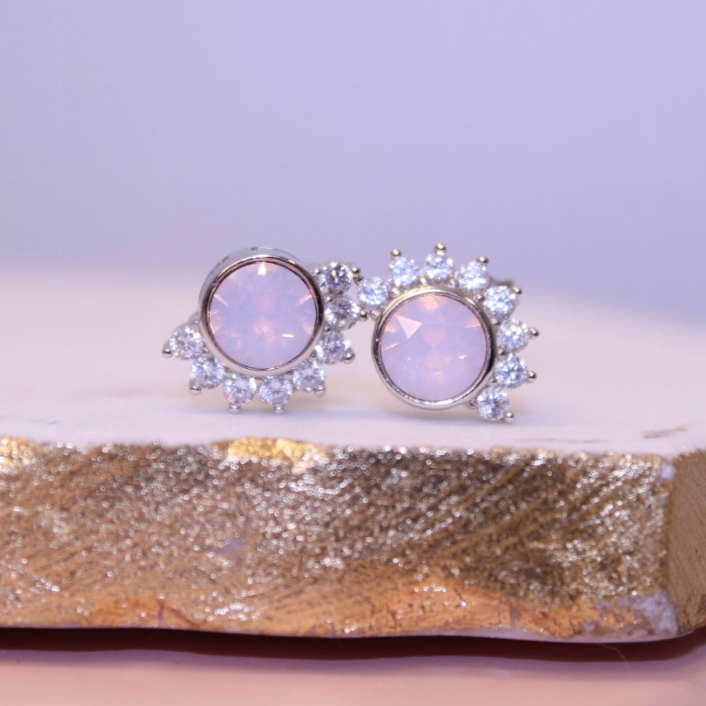"""Lois"" Studs in Rosewater Pink Swarovski® Earrings Chloe + Lois"