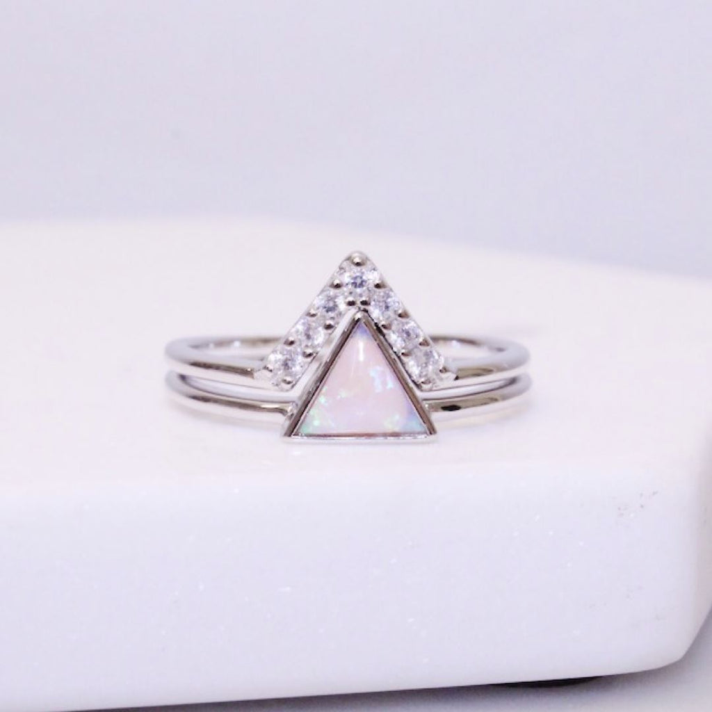 Sterling Silver Pink Opal Triangle Stacking Ring Set Rings Chloe + Lois