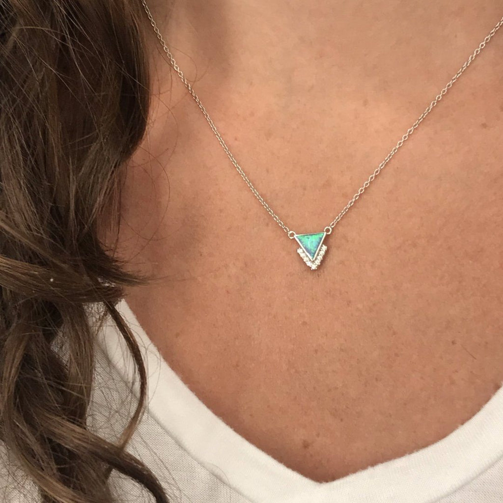 Sterling Silver Blue Opal and CZ Triangle Pendant Necklace