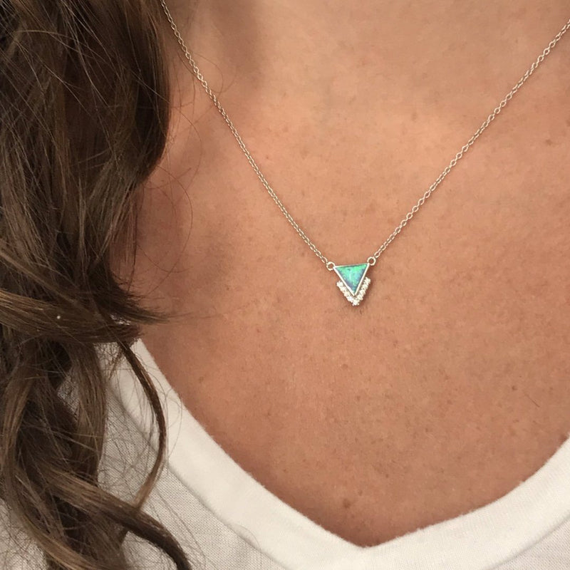 Sterling Silver Triangle Pendant Necklace in Blue Opal and CZ Necklaces Chloe + Lois