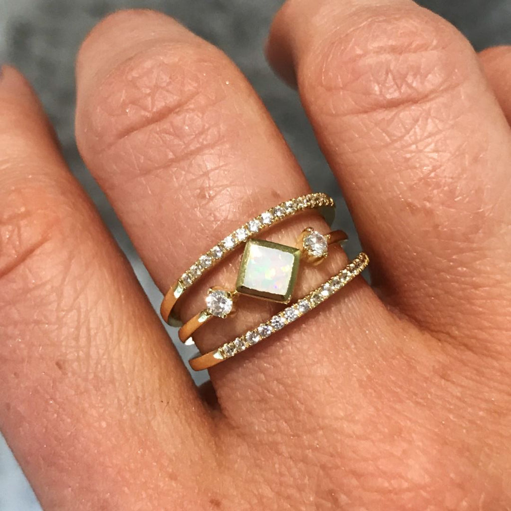 14k Gold Square Opal Ring Rings Chloe + Lois
