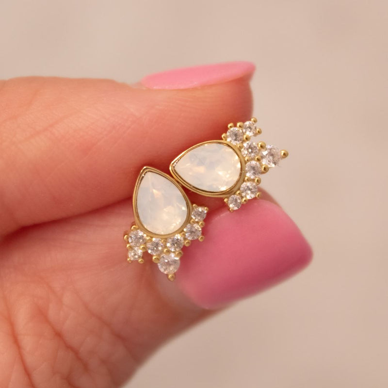 """Chloe"" Studs in White Opal Swarovski® Earrings Chloe + Lois 14k Gold"