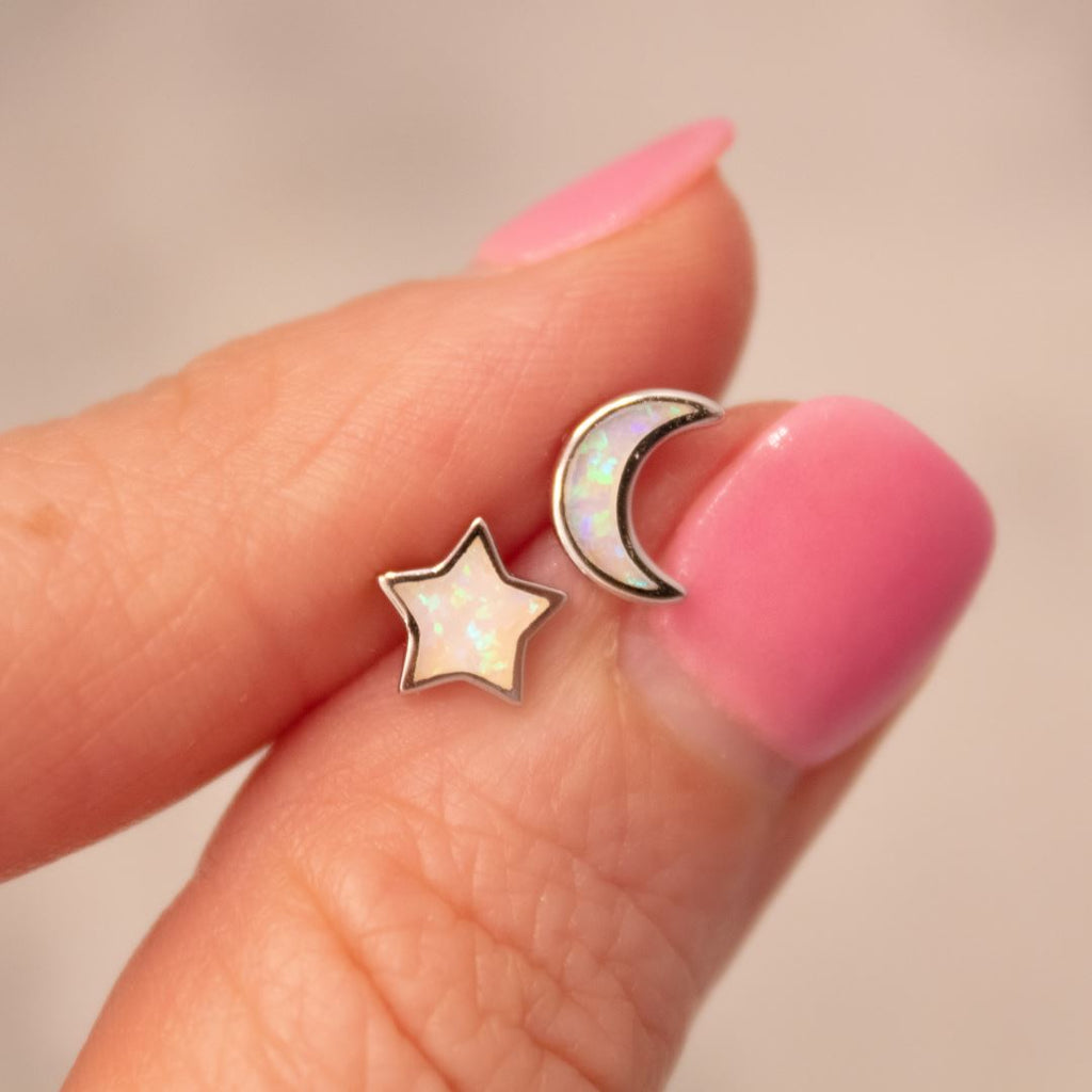 """Starry Night"" Mismatched Moon + Star Studs in White Opal Earrings Chloe + Lois"