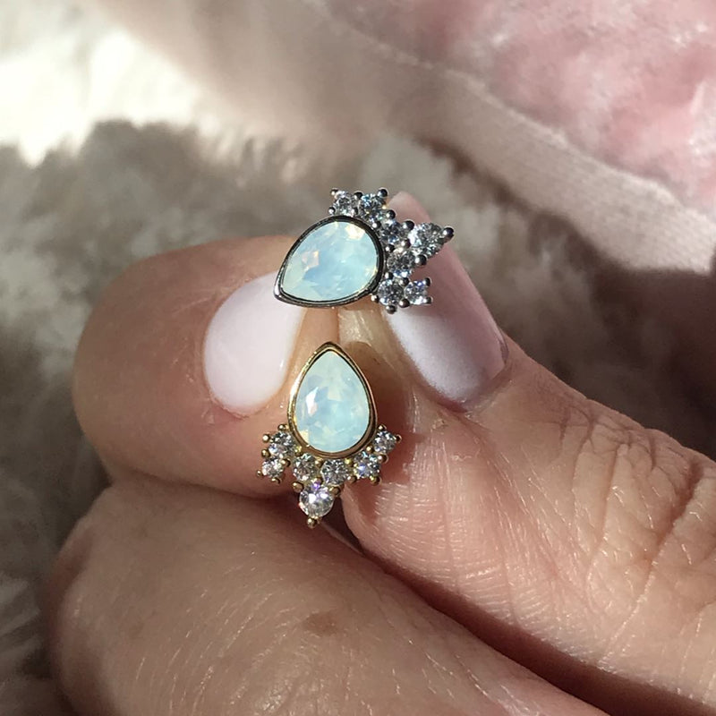 """Chloe"" Studs in White Opal Swarovski® Earrings Chloe + Lois"