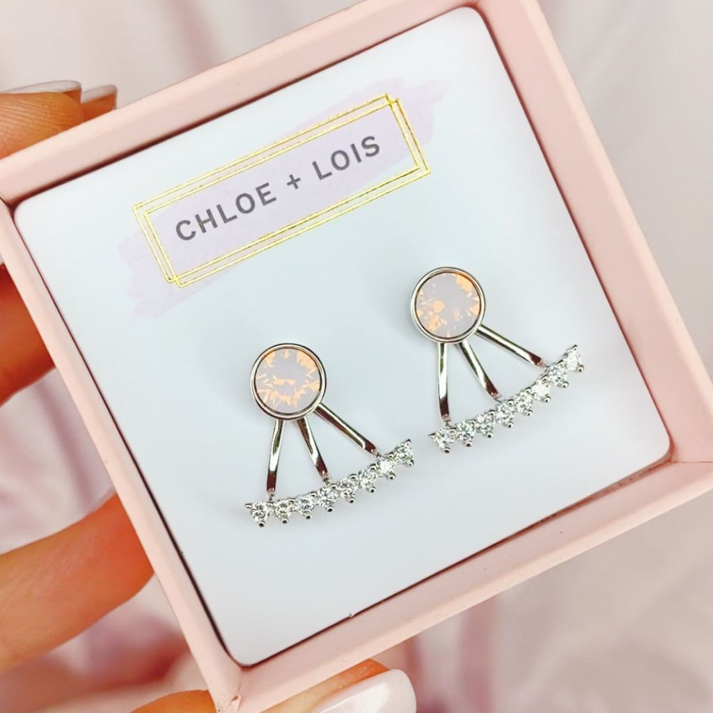 "Rosewater Pink Swarovski and Cubic Zirconia ""Lois"" Earring Jackets EARRING JACKET Chloe + Lois"