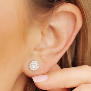 Dainty Sterling Silver Bar stud earrings with cubic zirconia pavé detail.