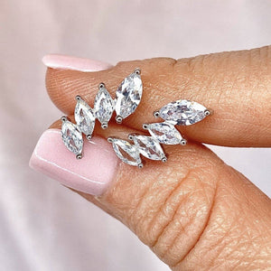 "Cubic Zirconia ""Crown"" Ear Climbers"