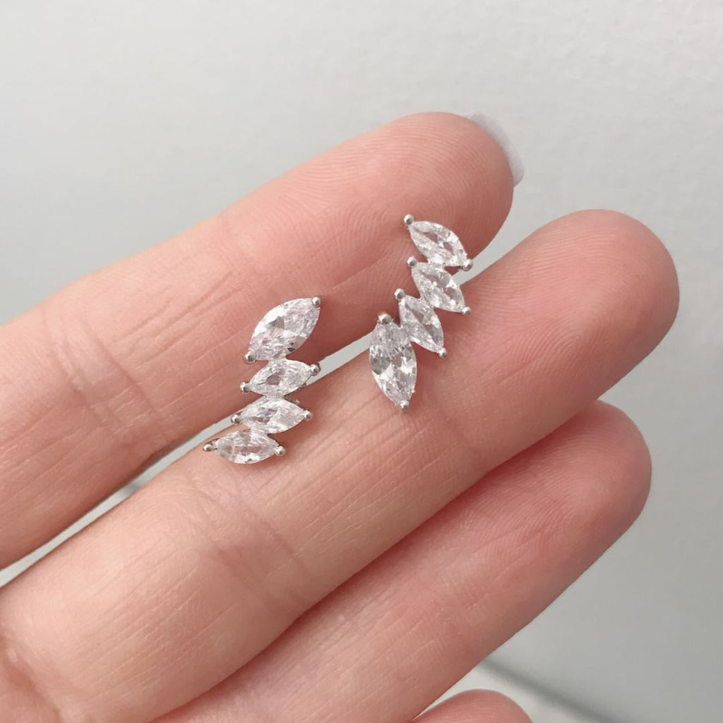 "Cubic Zirconia ""Crown"" Ear Climbers Earrings Chloe + Lois Solid Sterling Silver"