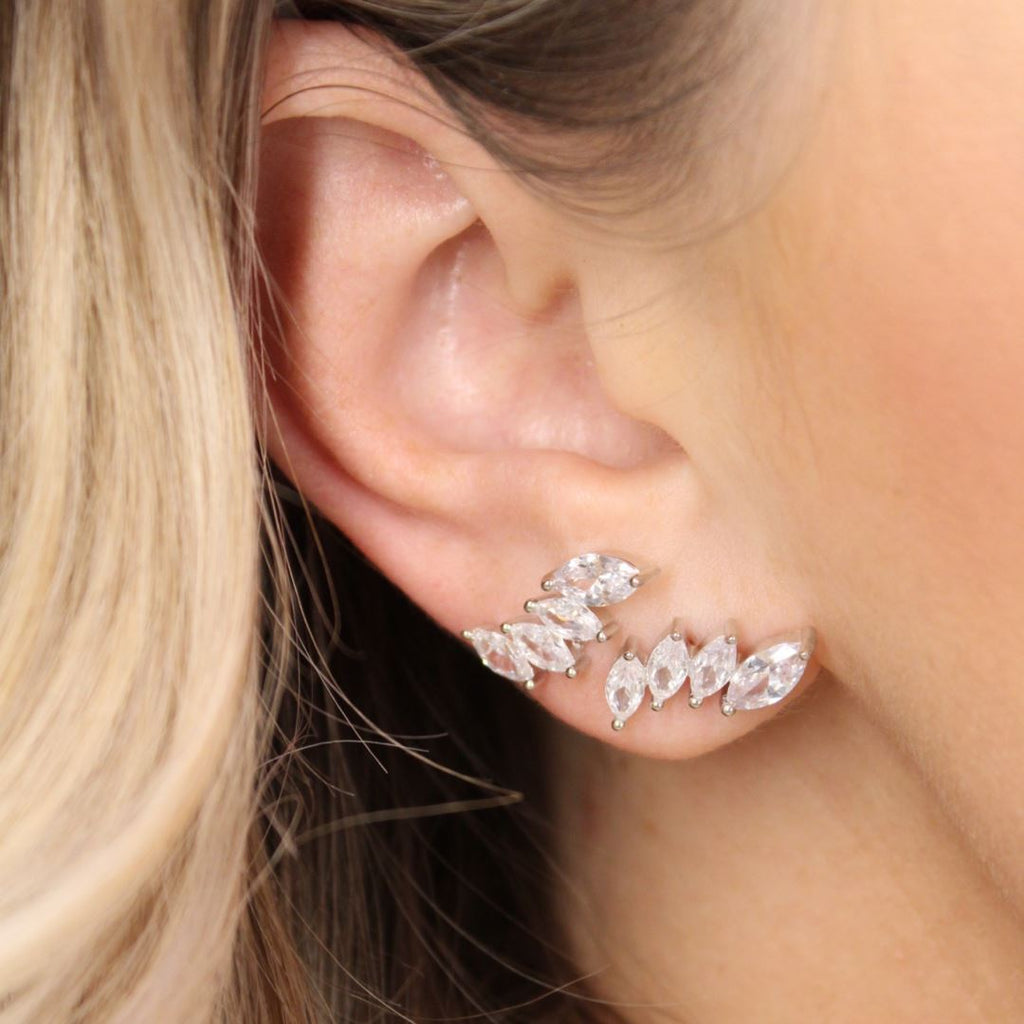 "Cubic Zirconia ""Crown"" Ear Climbers Earrings Chloe + Lois"