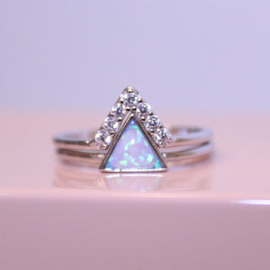 Sterling Silver Blue Opal Triangle Stacking Ring Set
