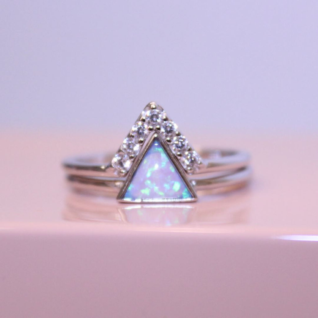Sterling Silver Blue Opal Triangle Stacking Ring Set Rings Chloe + Lois