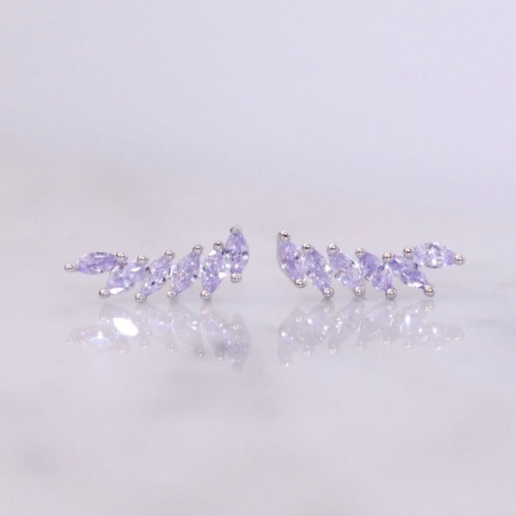 "Sterling Silver Lavender ""Feather"" Cubic Zirconia Ear Climbers Earrings Chloe + Lois"