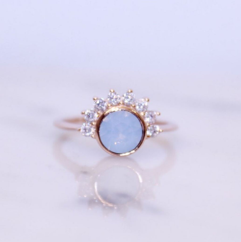 """Lois"" Ring in Air Blue Swarovski® Rings Chloe + Lois 6 Rose Gold Plated Sterling Silver"