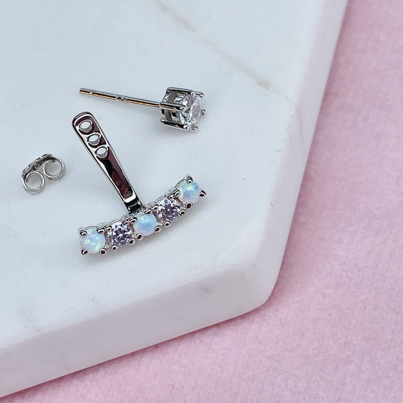Dainty Sterling Silver Earring Jacket with Opal Detail
