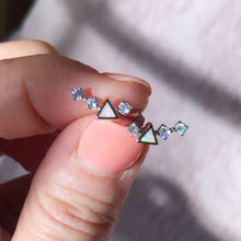Sterling Silver Pink Opal and CZ Mini Ear Climbers
