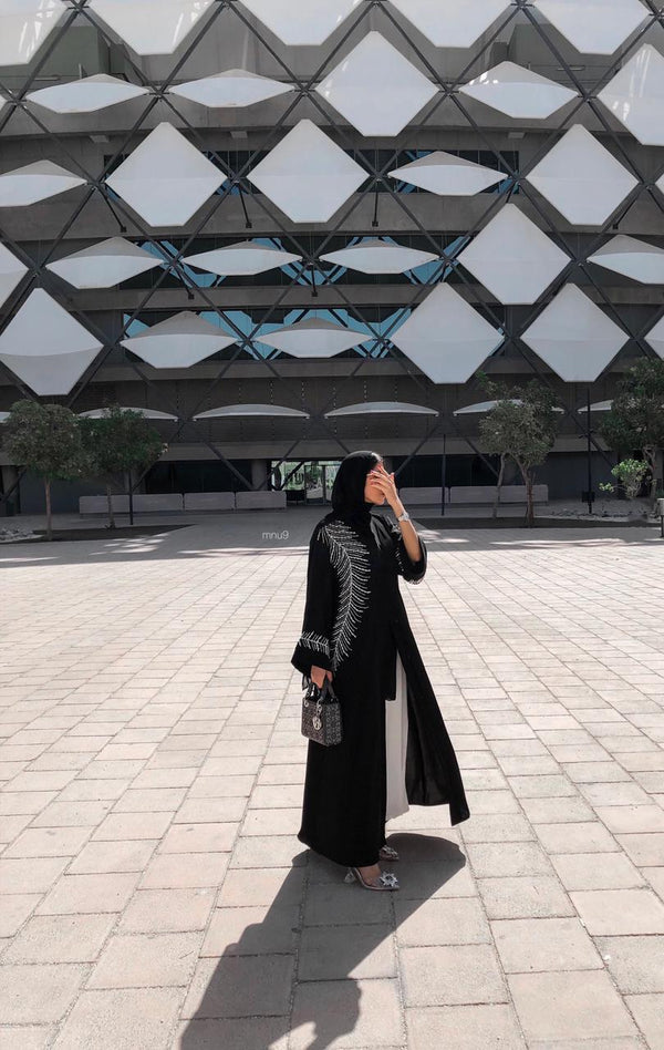 PEARL AND CRYSTAL FEATHER ABAYA