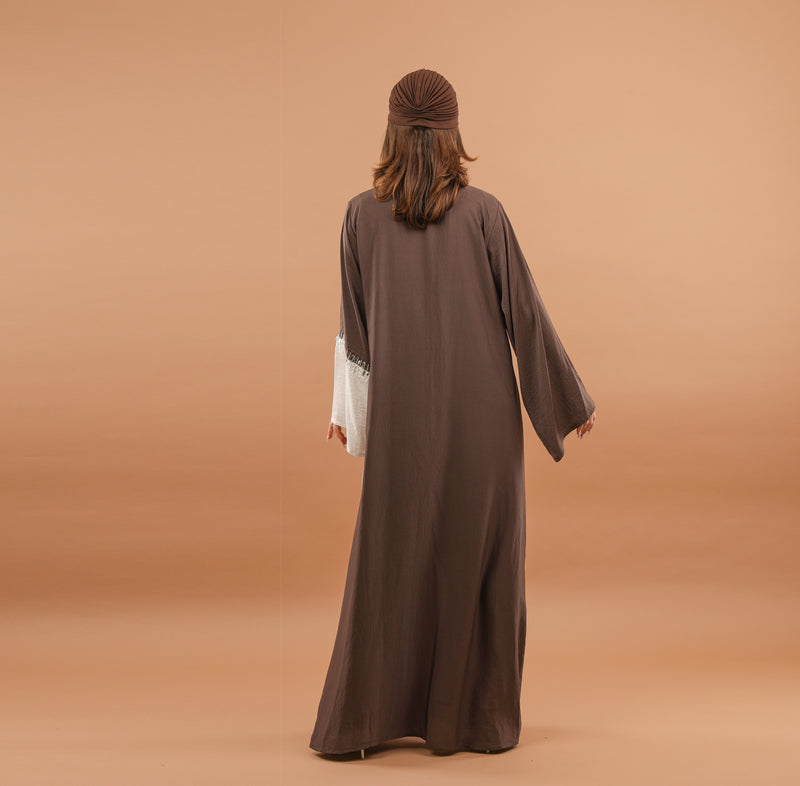 BROWN AND WHITE WRAP ABAYA