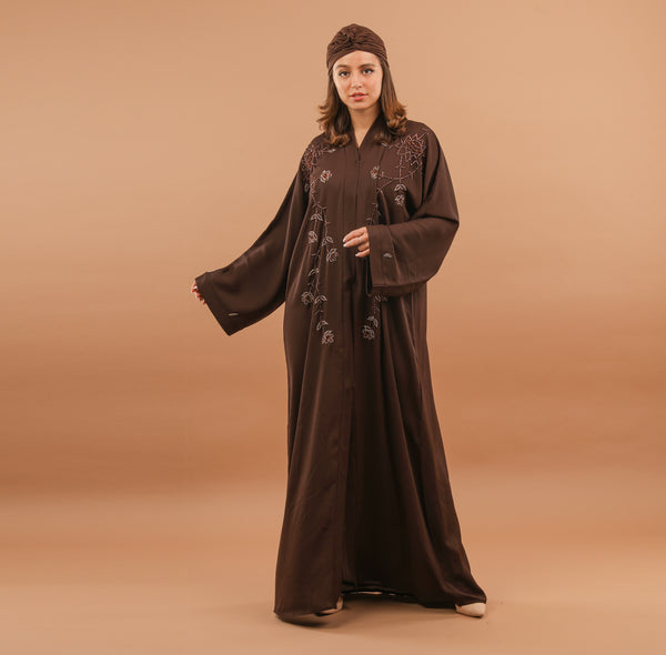 CHOCOLATE EMBROIDERED ABAYA