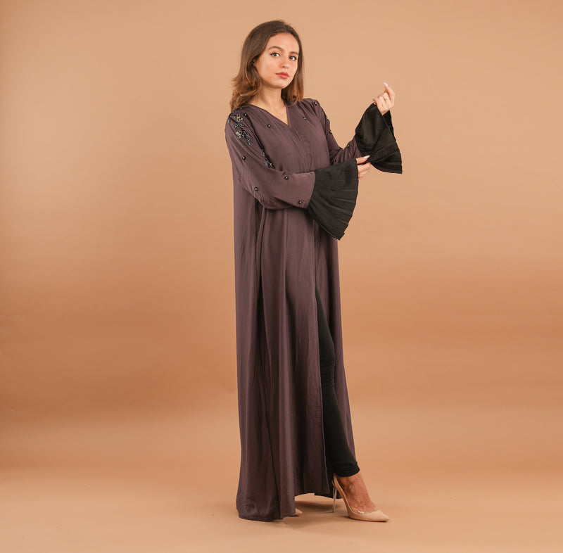 GREY SILK ABAYA WITH BLACK BELL SLEEVES