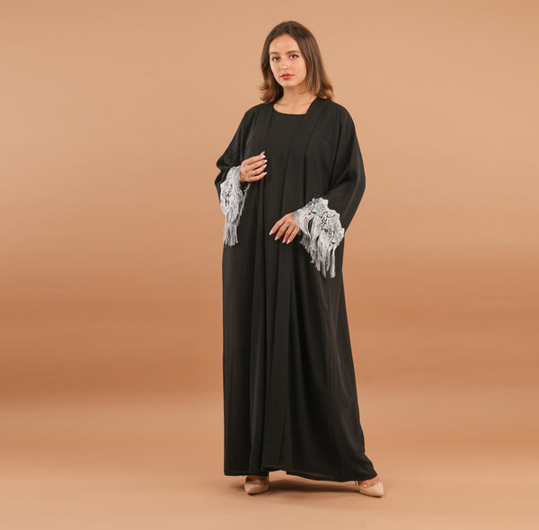 BLACK ABAYA WITH GREY TASSEL LACE