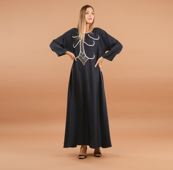 NAVY JEWEL BEADED ABAYA