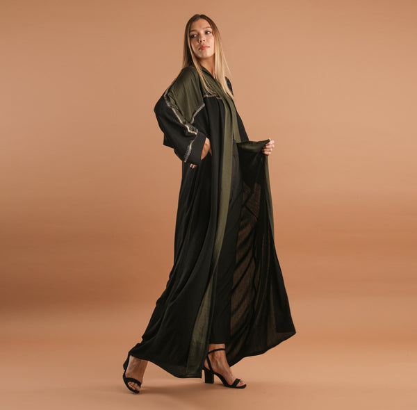KHAKI AND BLACK ABAYA WITH GOLD JEWELS