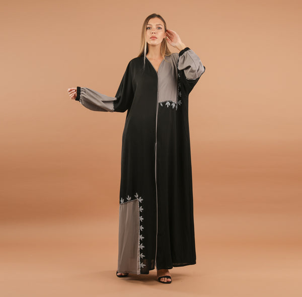 GREY AND BLACK PATCHWORK EFFECT ABAYA