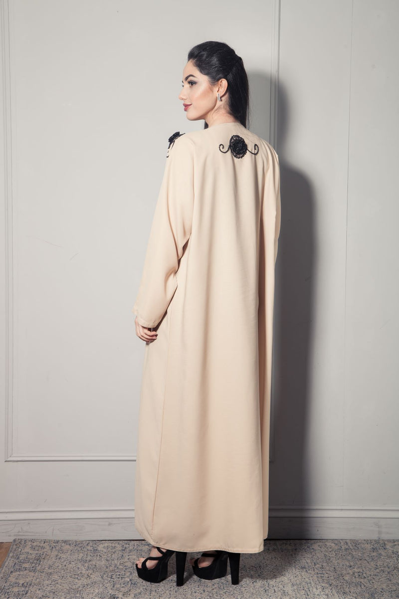 CREAM ABAYA WITH 3D BLACK FLOWERS