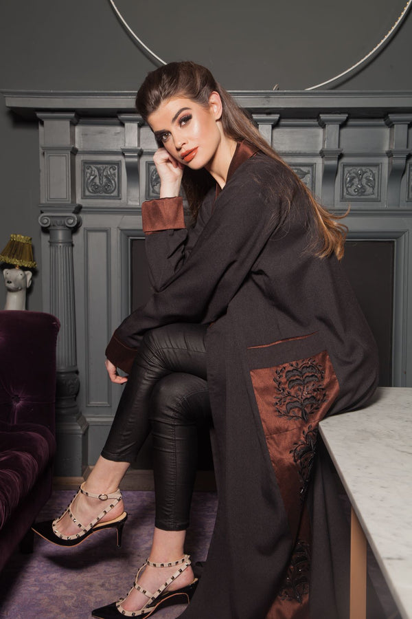 BLACK ABAYA WITH BROWN RAW SILK CUFFS AND SIDE PANELS
