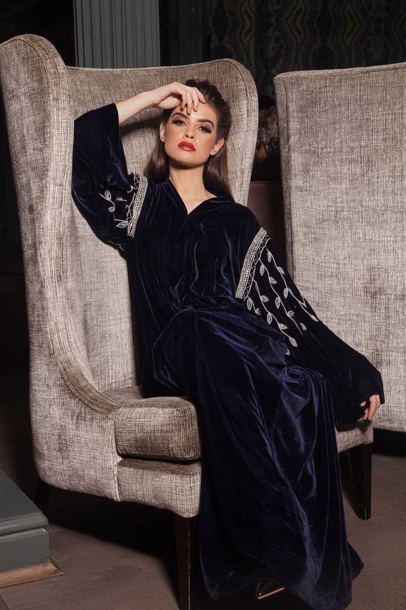 NAVY VELVET ABAYA WITH FLORAL PEARL SLEEVES AND