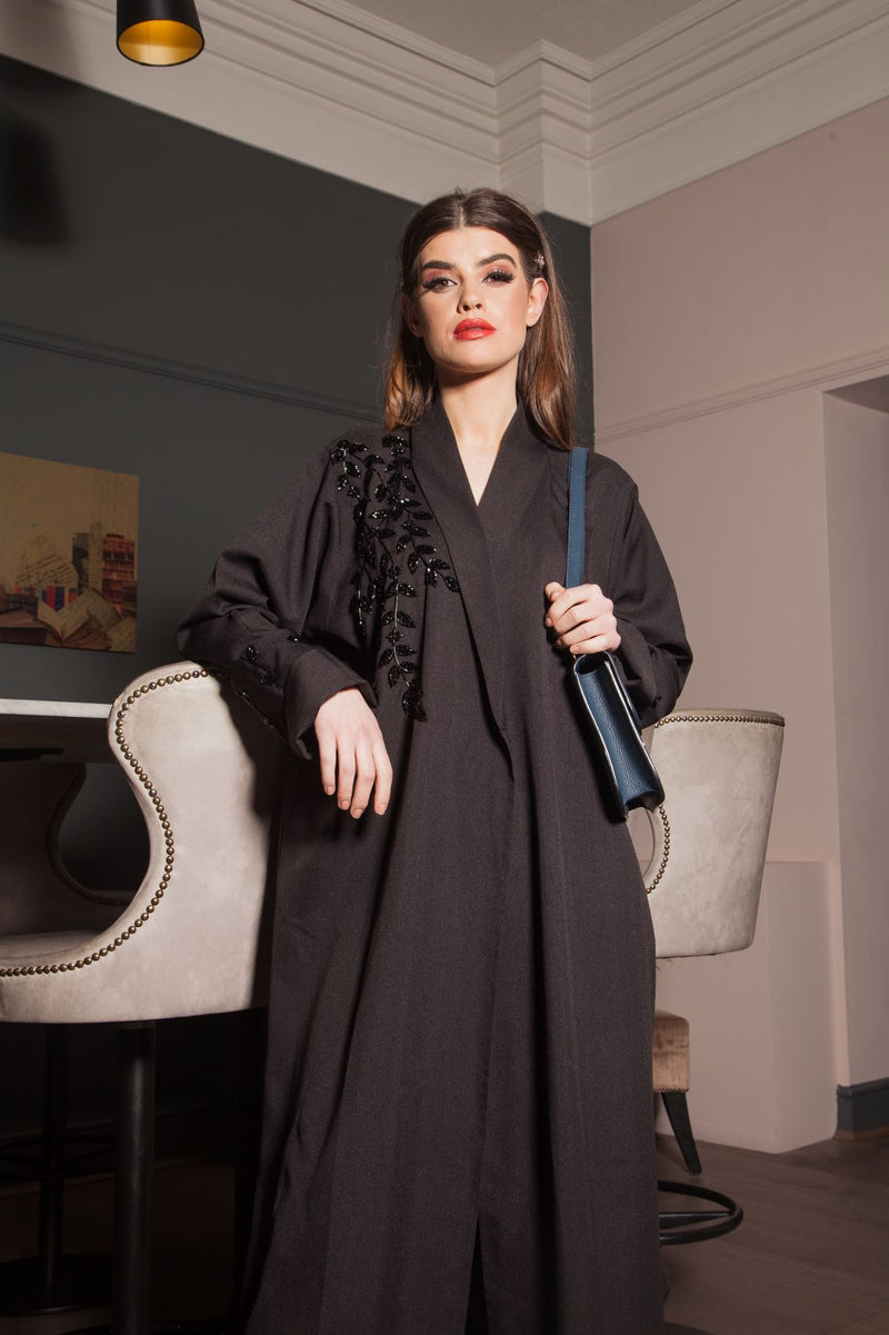 BLACK ON BLACK BEADED JACKET ABAYA
